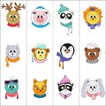 Cute animals. Set of color vector illustrations.