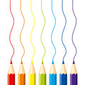 Set of isolated colored pencils: red, orange, blue, light blue, violet, green, yellow, with vertical wavy lines, on white backgrou Royalty Free Stock Photo