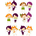 Set of isolated couple cartoon Stock Photo