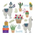 Set of isolated Cute llamas with flowers, cactuses and succulents on a white background