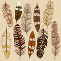 Set of isolated feather icons hand drawn Royalty Free Stock Images
