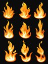 Icons with flame or burning fire, fireball Royalty Free Stock Photo