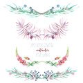 Set with isolated frame borders, floral decorative ornaments with watercolor flowers