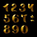Set of isolated golden shining ribbon numbers on black background rgb eps vector illustration Royalty Free Stock Images