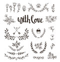Set isolated hand drawn design elements with stylish lettering with love. Wedding, marriage, save the date, Valentine& Royalty Free Stock Photo
