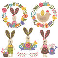 Set of isolated happy easter design elements