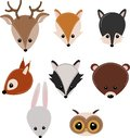 Set of isolated forest animals head - vector illustration, eps