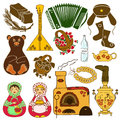 Set of isolated icons with russian symbols colorful Royalty Free Stock Image