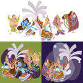 Set of isolated Indian Gods meditation in yoga poses lotus and Goddess hinduism religion, traditional asian culture