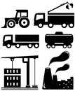 Set isolated industrial objects for urban development and construction Stock Image