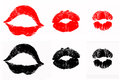Set isolated lip print lipstick kisses red black color Royalty Free Stock Photo