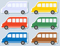 Set of isolated minibus Stock Image