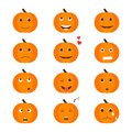 Set of Isolated pumkin cute smile character