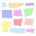Set of isolated realistic colorful empty vector pieces of paper