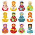 Set of isolated russian dolls matrioshka colorful Stock Photo