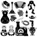 Set of isolated russian icons black stylized Stock Photography