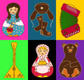 Set of isolated russian icons stylized on a bright colorful background Royalty Free Stock Images