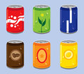 Set isolated soft drink can Stock Photo