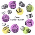 Set of isolated sweet cakes and sweets vector illustration for your design Stock Photos