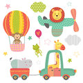 Set of isolated transport with baby jungle animals