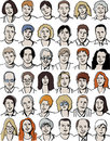 Set isolated unrecognizable people portraits on w Royalty Free Stock Photo