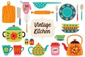 Set of isolated vintage kitchen utensils part 1 Royalty Free Stock Photo