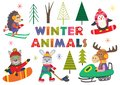 Set of isolated winter fun with animals part 2