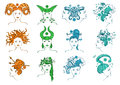 Set of isolated zodiac signs with stylized female portrait Royalty Free Stock Image