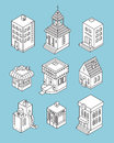 Set of Isometric Buildings. Black and white vector illustration