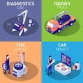 Set of Isometric Cards with Services in Car Garage