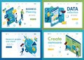Set of isometric concepts.business planning, data collection, create dashboard. For Landing page concepts and web design
