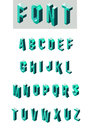 Set of isometric glass font Royalty Free Stock Photo