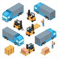 A set of isometric icons, transportation for cargo Royalty Free Stock Photo