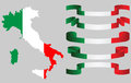 Set of italian ribbons and italian map in flag colors illustration Royalty Free Stock Photos