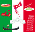 Set of italy icons vector Stock Photos