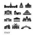 Set of Italy symbols, landmarks in black and white. Vector illustration. Rome, Venice, Milan, Italy Royalty Free Stock Photo