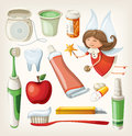 Set of items for keeping your teeth healthy dental Stock Photos