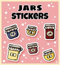 Set of jam jars stickers. Collection of flat colorful style labels