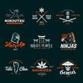 Set of Japan Ninja Logo. Ninjato sword insignia design. Vintage shuriken badge. Mixed martial art tournament t-shirt Royalty Free Stock Photo