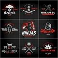 Set of Japan Ninjas Logo. Katana weapon insignia design. Vintage ninja mascot badge. Martial art Team t-shirt