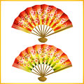 Set of japanese fans over white colorful isolated on background Stock Photography