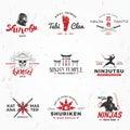 Set of Japanese Ninjas Logo. Katana master insignia design. Vintage ninja mascot badge. Martial art Team t-shirt Royalty Free Stock Photo