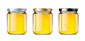 Set jars of honey Royalty Free Stock Photo