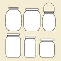 Set of jars template six Stock Photo