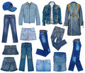 Set of jeans blue fashion Stock Photo