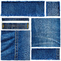 Set of jeans fabric Royalty Free Stock Photo