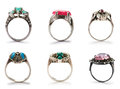 Set of jewellery rings Stock Images