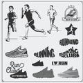 Set of jogging and running club labels, emblems, badges and design elements. Running shoes icons and silhouettes of runners.
