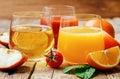 Set of juices: orange, tomato and apple Royalty Free Stock Photo