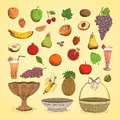 Set of juicy fresh fruits orange grape apple strawberry cherry and others vector illustration Royalty Free Stock Photos